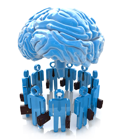 symbolics: 3d people- human character end blue brain. Forum Mind in the design of the information associated with an abstraction of the mind
