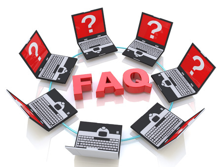 frequently: FAQ and laptops with questions in the design of information related to frequently asked questions