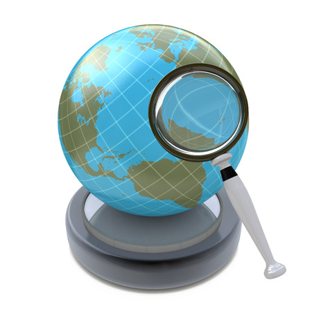 interests: Global search concept isolated on white background in the design of the information related to the global interests Stock Photo