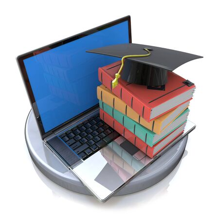 obtain: Books and graduation cap on laptop- e-learning 3d concept in the design of related information to obtain knowledge on the Internet