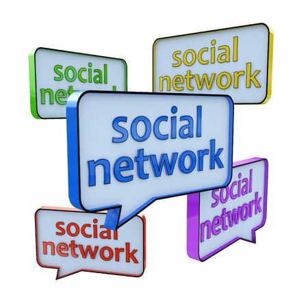 tweet balloon: Social networking and chat concept in the design of information related to internet Stock Photo