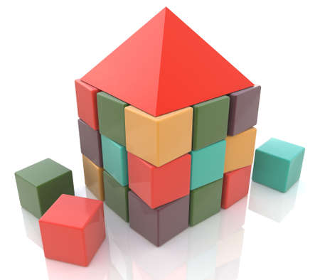 required: Abstract house made of children blocks 3d in the design of the information required to design structures