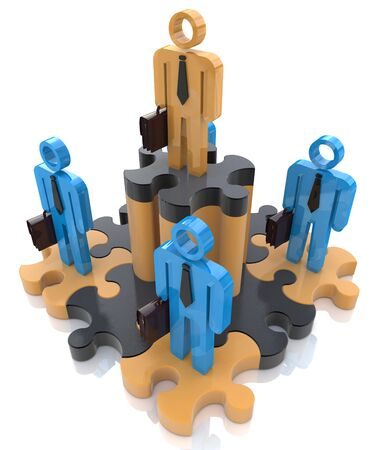 ambitions: Leadership puzzle in the design of information related to individual ambitions Stock Photo