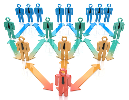 correlation: Team leader organization hierarchy in the design of information related to leadership Stock Photo