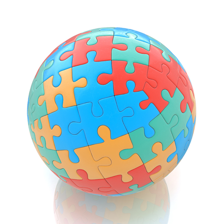 associated: Globe or sphere from puzzles on white background in the design of the information associated with abstraction