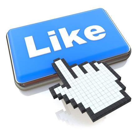 like button: Mouse hand cursor on like button in the design of information related to internet
