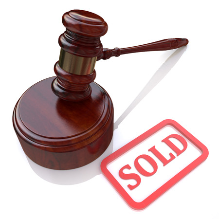 indebted: Sold auction in the design of information related to trade Stock Photo