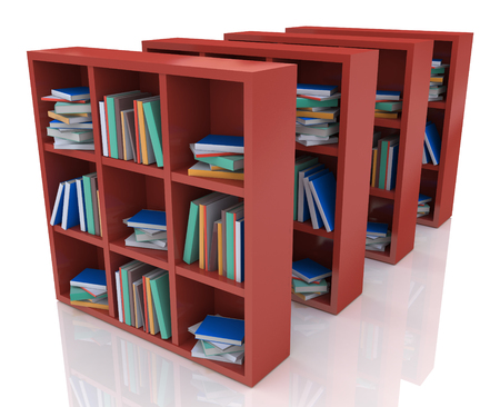 attainments: Library books in the design of the information related to the literature Stock Photo