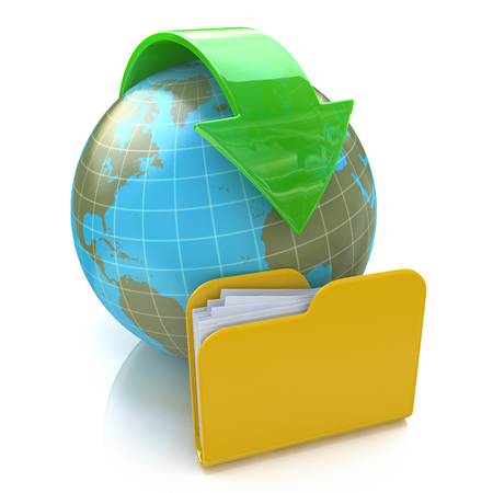 forwarding: Transfer of documents. Forwarding files conceptual 3d illustration in the design of information related to internet
