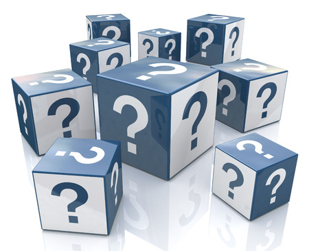 Cubes with Question Marks in the design of information related to internet
