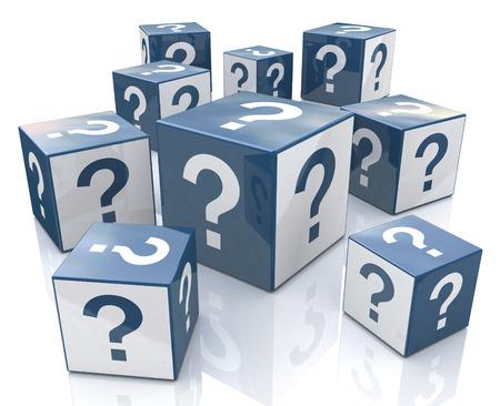 Cubos con los signos de interrogación en el diseño de la información relacionados con Internet Foto de archivo - 61201890
