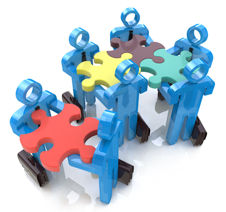 Collective works. Partnership. Teamwork in the design of information related to teamwork Stock Photo