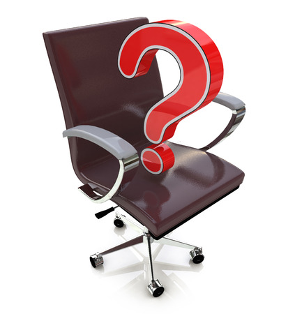 considerations: Office chair and Question Mark. Business considerations in the design of information related to job search Stock Photo