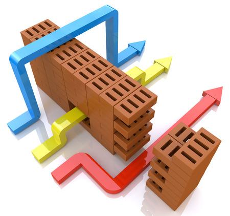 Negocio supera los obstáculos. ilustración conceptual en el diseño de la información asociada con la selección de la ruta Foto de archivo - 61201893