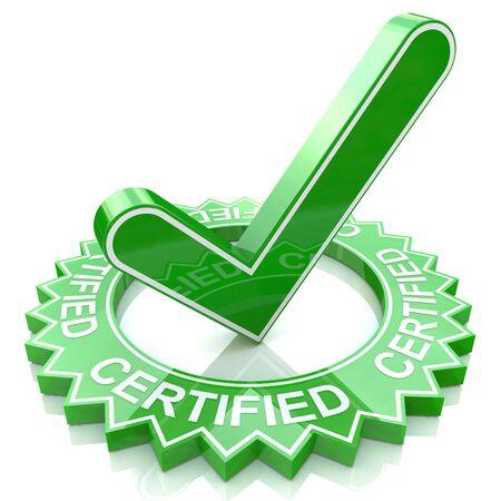 confirmacion: Etiqueta verde con el texto en 3D y marca de verificaci�n. Certificada en el dise�o de la informaci�n relacionada con los negocios y la confirmaci�n