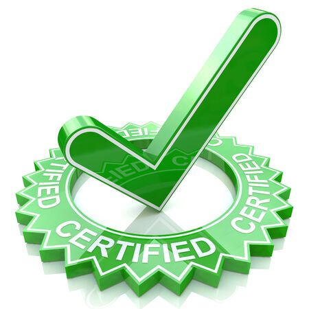 Green label with 3D text and check mark. Certified in the design of information related to business and confirmation