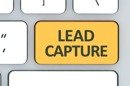 Teclado con botón de captura de leads. Teclado blanco de computadora con botón de captura de plomo en el diseño de información relacionada con tecnología informática Foto de archivo - 61202002