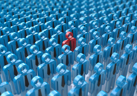 uniqueness: Creative abstract individuality, uniqueness and leadership business concept: single red 3D people figure in crowded group of blue figures with selective focus effect Stock Photo