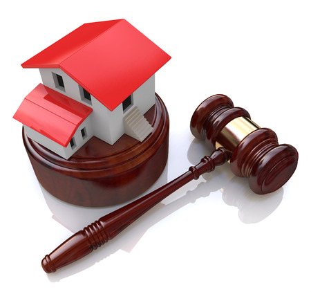 Home on white background and court gavel (done in 3d) in the design of information related to the auction Stock Photo