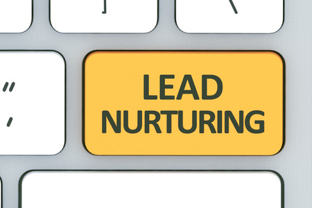 Keyboard with lead nurturing button. Computer white keyboard with lead nurturing button in the design of information related to computer technology