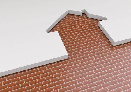 paredes de ladrillos: El concepto de la planificación de la construcción de viviendas nuevas. El contorno de la casa y el ladrillo. Industria de construccion