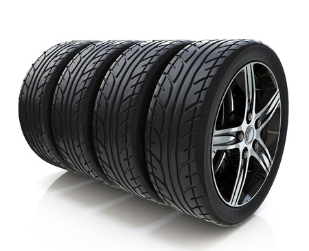 Car wheels on white background in the design of information related to motor transport
