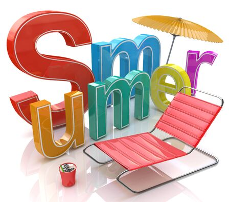 sumer: Word summer with colourful letters in the design of information related to season
