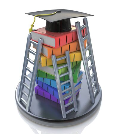 Graduation cap on the top of stack of books with ladders - Books step education in the design of information related to education Stock Photo