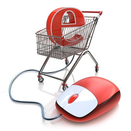 input device: Shopping cart operated computer mouse and symbol of e-commerce in the design of the information related to the Internet Stock Photo