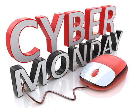 relating: Word Cyber Monday and computer mouse in the design of information relating to holiday