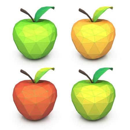 associated: Polygonal geometric multicolored apples. Fruit set Low-poly triangular style in the design of the information associated with icons Stock Photo