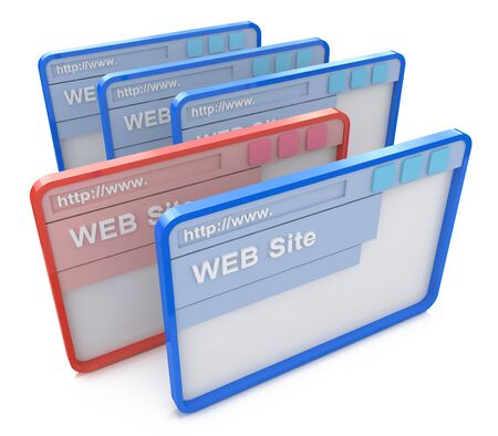 wepage: Selected Browser window in the design of the information related to the internet