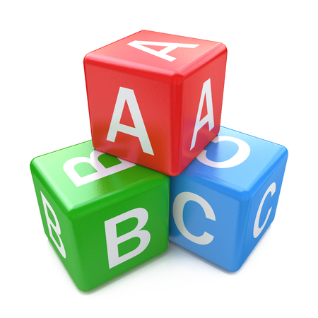 Back to school and education concept: ABC color glossy cubes with letters isolated on white background Stock Photo