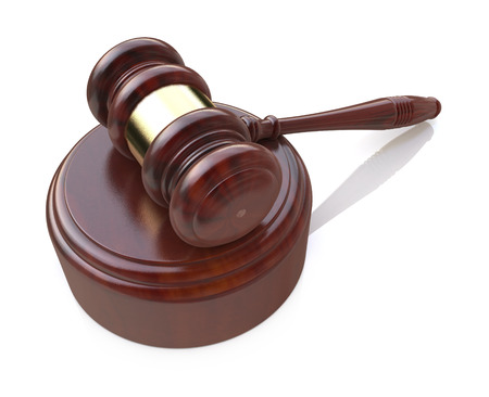 bidding: Creative law, justice and auction lot bidding business concept: wooden gavel, mallet or hammer with wood stand isolated on white background