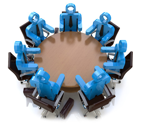 stockholder: 3d meeting business people - session behind a round table in the design of the information related to a business meeting