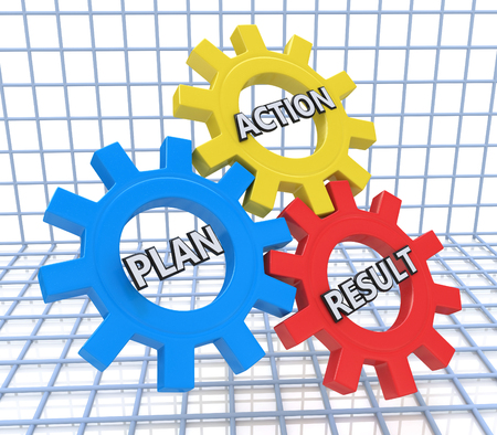 excel: text plan, action, result - words in 3d colorful gear wheels. 3d illustration