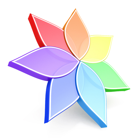 secondary colors: Flower Color Wheel 3D in the design of information related to plants. 3d illustration Stock Photo