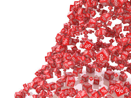 Falling red cubes with percent isolated on white background in the design of the information related with the sale. 3d illustration