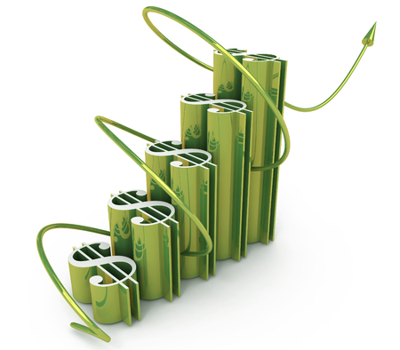 economic success of the dollar chart in the design of the information related to the increase in the dollar. 3d illustration