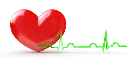 Shiny red heart with cardiogram isolated on white in the design of information related to health. 3d illustration