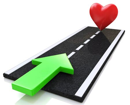 fountainhead: road to love in the design of information related to real love. 3d illustration