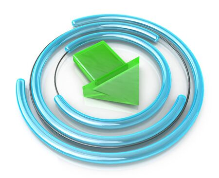 symbol download circle glossy web sign on white background in the design of the information associated with uploading files. 3d illustration