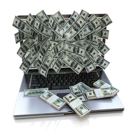 earnings: Money pouring out from laptop in the design of the information related to online earnings. 3d illustration