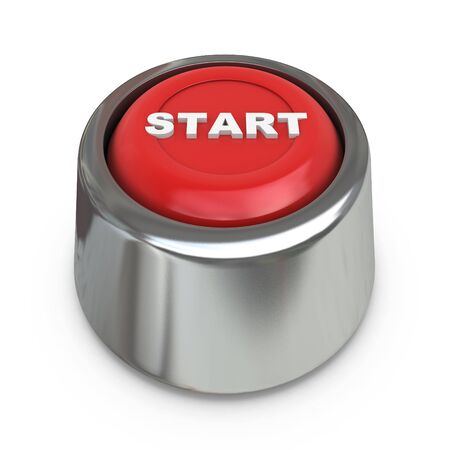 decisionmaking: Red start button in the design of the information related to the decision-making. 3d illustration