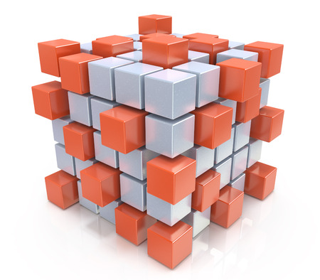 assembling: teamwork business concept - cube assembling from blocks in the design of the information associated with the abstract. 3d illustration Stock Photo