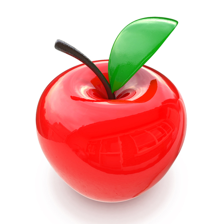 flaring: red glass apple in the design of the information related to the decoration. 3d illustration