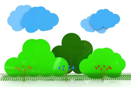 Background landscape with trees clouds, bushes and flowers in the design of information related to natural scenes. 3d illustration