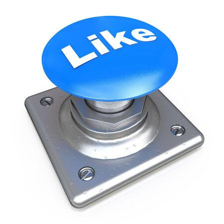 like button: Blue LIKE button in the design of information related to social media. 3d illustration