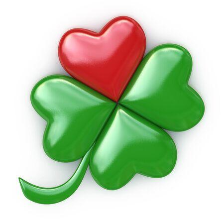 Rojo afortunado, trébol corazón verde en el diseño de la información relacionada con st. día de San Patricio. 3d ilustración Foto de archivo - 63279405