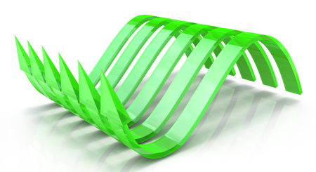 latent: Green wavy arrows, concept of the latent potential in the design of the information related to the business. 3d illustration